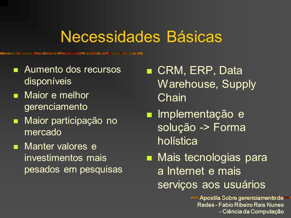 Apostila Sobre gerenciamento de Redes - Fabio Ribeiro Reis Nunes - Ciência da Computação Necessidades Básicas Aumento dos recursos disponíveis Maior e