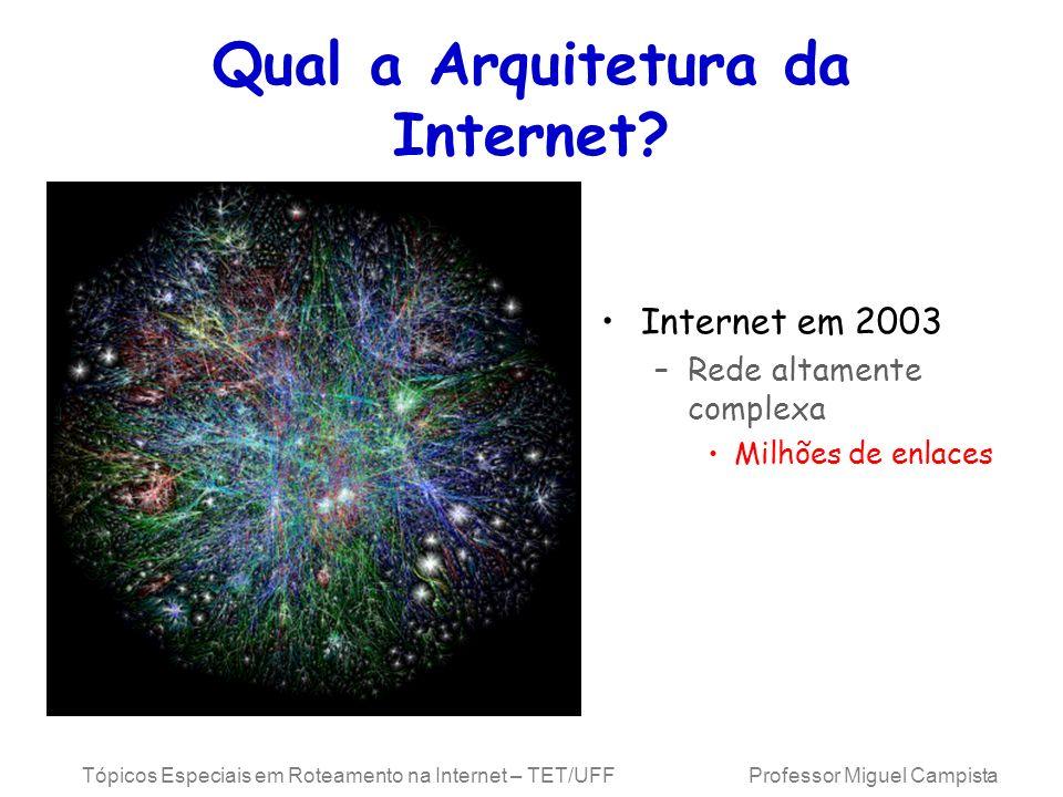 Tópicos Especiais em Roteamento na Internet – TET/UFF Professor Miguel Campista Qual a Arquitetura da Internet? Internet em 2003 –Rede altamente compl
