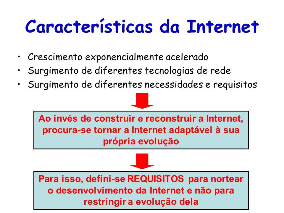 Tópicos Especiais em Roteamento na Internet – TET/UFF Professor Miguel Campista Características da Internet Crescimento exponencialmente acelerado Sur
