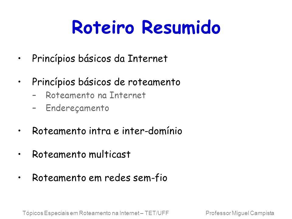 Tópicos Especiais em Roteamento na Internet – TET/UFF Professor Miguel Campista Roteiro Resumido Princípios básicos da Internet Princípios básicos de