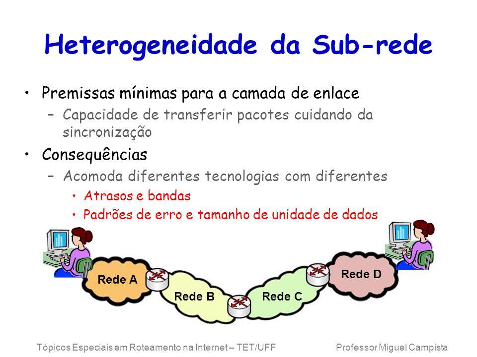 Tópicos Especiais em Roteamento na Internet – TET/UFF Professor Miguel Campista Heterogeneidade da Sub-rede Premissas mínimas para a camada de enlace
