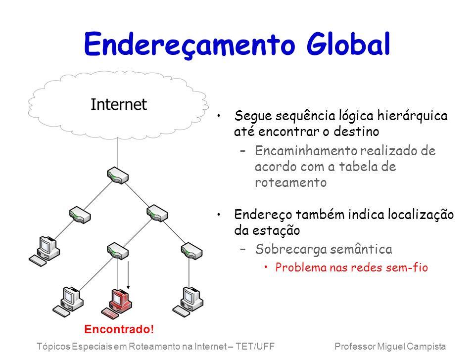 Tópicos Especiais em Roteamento na Internet – TET/UFF Professor Miguel Campista Endereçamento Global Segue sequência lógica hierárquica até encontrar