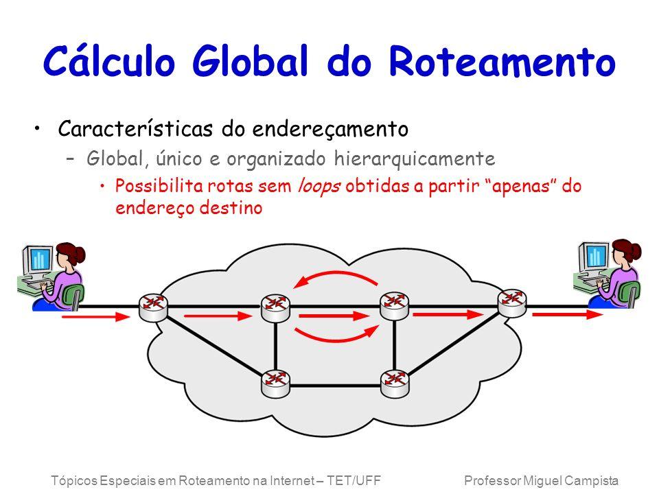 Tópicos Especiais em Roteamento na Internet – TET/UFF Professor Miguel Campista Características do endereçamento –Global, único e organizado hierarqui