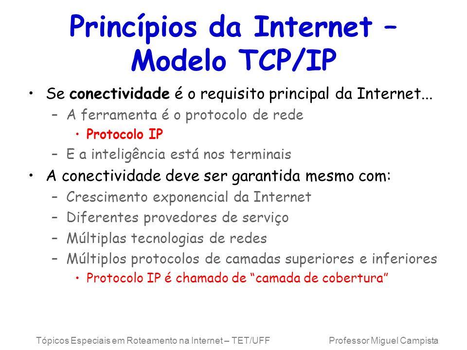 Tópicos Especiais em Roteamento na Internet – TET/UFF Professor Miguel Campista Se conectividade é o requisito principal da Internet... –A ferramenta