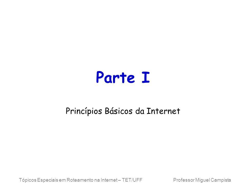 Tópicos Especiais em Roteamento na Internet – TET/UFF Professor Miguel Campista Parte I Princípios Básicos da Internet