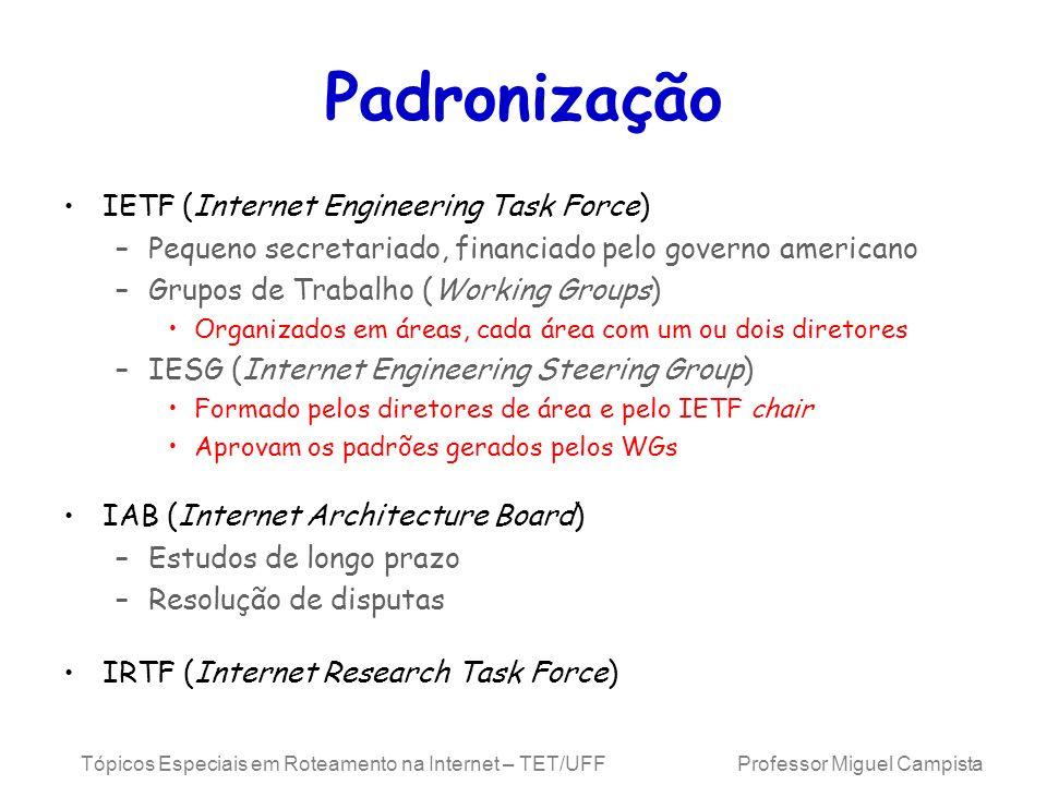 Tópicos Especiais em Roteamento na Internet – TET/UFF Professor Miguel Campista Padronização IETF (Internet Engineering Task Force) –Pequeno secretari
