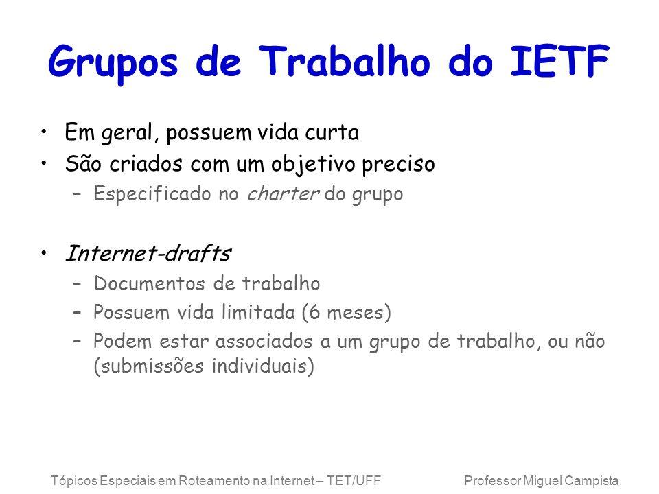 Tópicos Especiais em Roteamento na Internet – TET/UFF Professor Miguel Campista Grupos de Trabalho do IETF Em geral, possuem vida curta São criados co