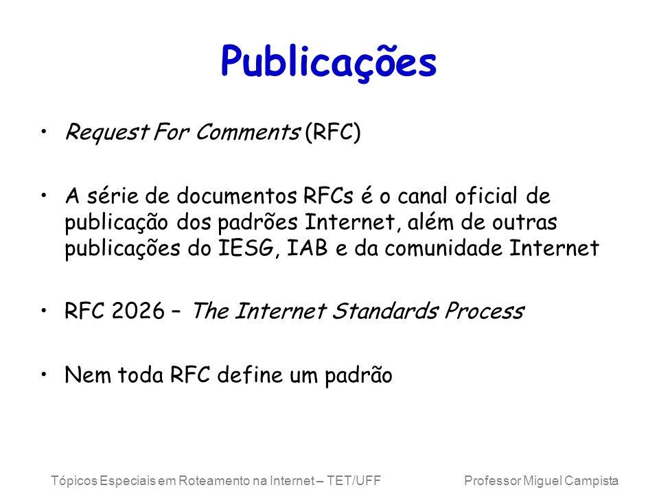 Tópicos Especiais em Roteamento na Internet – TET/UFF Professor Miguel Campista Publicações Request For Comments (RFC) A série de documentos RFCs é o