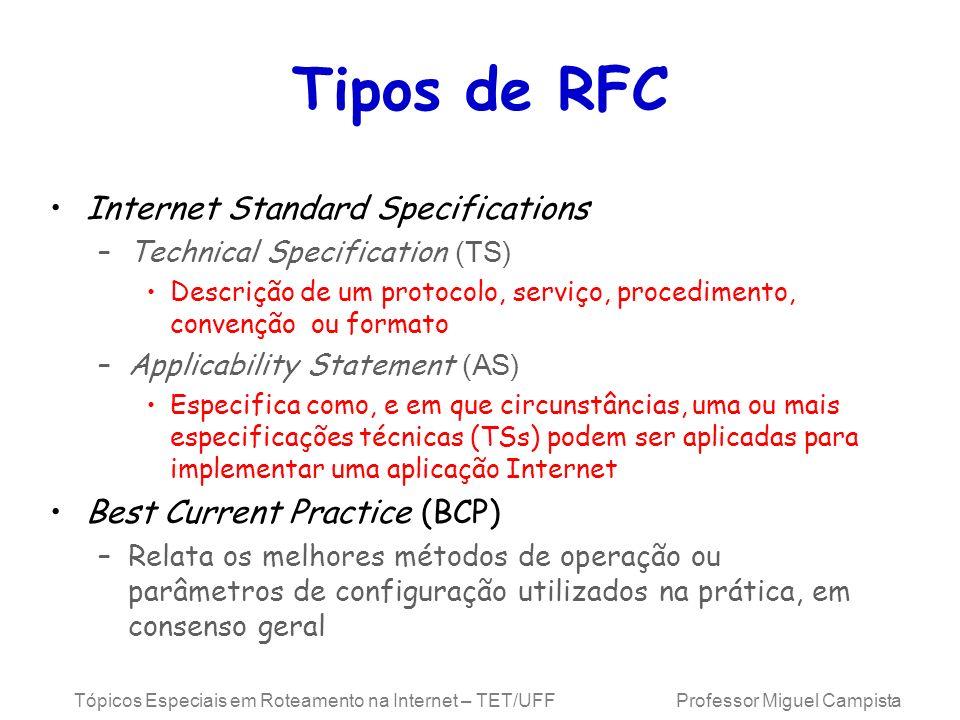 Tópicos Especiais em Roteamento na Internet – TET/UFF Professor Miguel Campista Tipos de RFC Internet Standard Specifications –Technical Specification