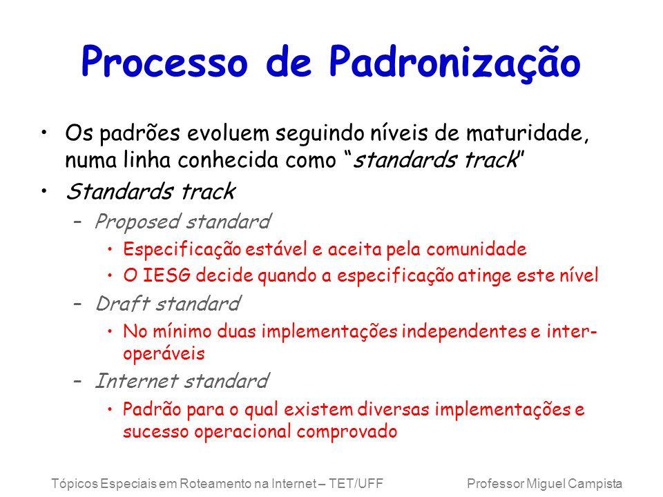 Tópicos Especiais em Roteamento na Internet – TET/UFF Professor Miguel Campista Processo de Padronização Os padrões evoluem seguindo níveis de maturid