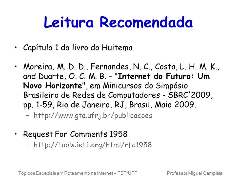 Tópicos Especiais em Roteamento na Internet – TET/UFF Professor Miguel Campista Leitura Recomendada Capítulo 1 do livro do Huitema Moreira, M. D. D.,