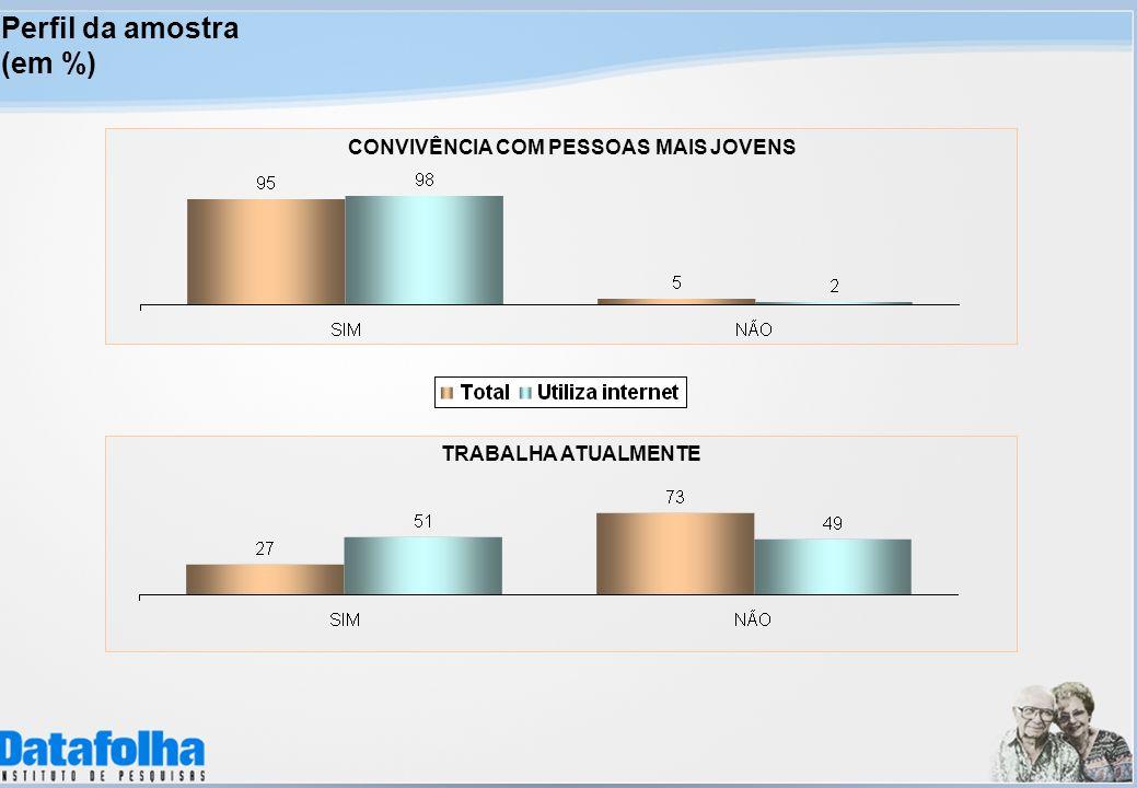 TRABALHA ATUALMENTE CONVIVÊNCIA COM PESSOAS MAIS JOVENS Perfil da amostra (em %)