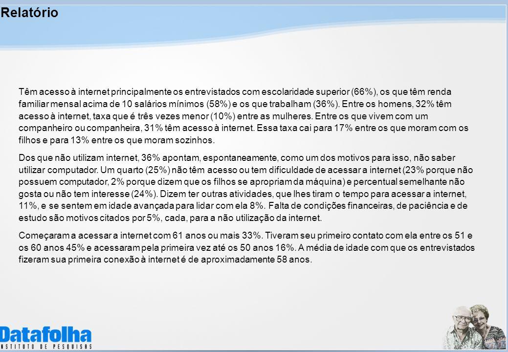 Relatório Têm acesso à internet principalmente os entrevistados com escolaridade superior (66%), os que têm renda familiar mensal acima de 10 salários mínimos (58%) e os que trabalham (36%).