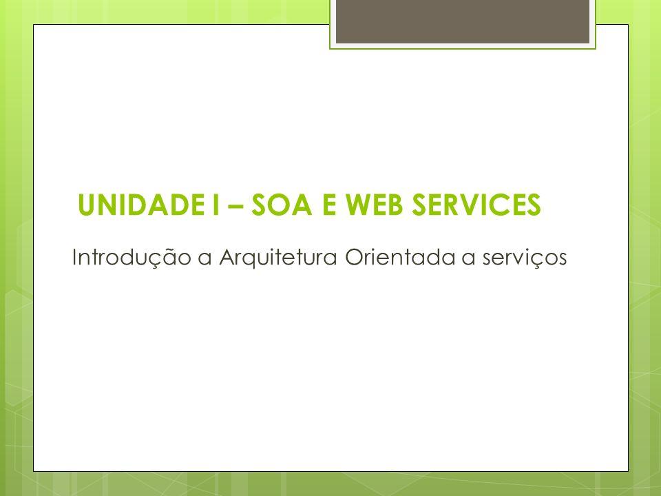 UNIDADE I – SOA E WEB SERVICES Introdução a Arquitetura Orientada a serviços