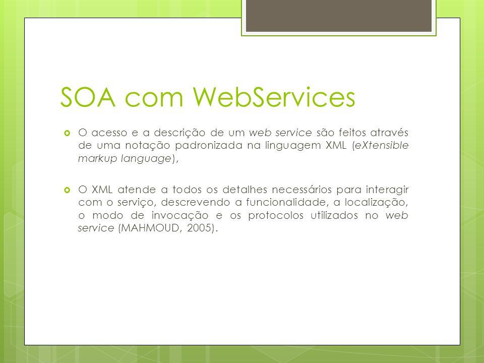 SOA com WebServices O acesso e a descrição de um web service são feitos através de uma notação padronizada na linguagem XML (eXtensible markup language), O XML atende a todos os detalhes necessários para interagir com o serviço, descrevendo a funcionalidade, a localização, o modo de invocação e os protocolos utilizados no web service (MAHMOUD, 2005).