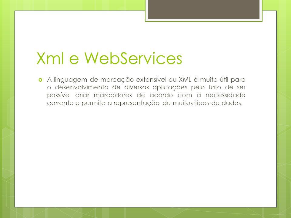 Xml e WebServices A linguagem de marcação extensível ou XML é muito útil para o desenvolvimento de diversas aplicações pelo fato de ser possível criar marcadores de acordo com a necessidade corrente e permite a representação de muitos tipos de dados.