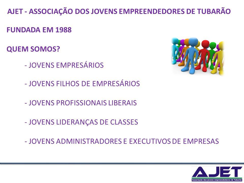 FUNDADA EM 1988 - JOVENS EMPRESÁRIOS - JOVENS FILHOS DE EMPRESÁRIOS - JOVENS ADMINISTRADORES E EXECUTIVOS DE EMPRESAS - JOVENS PROFISSIONAIS LIBERAIS