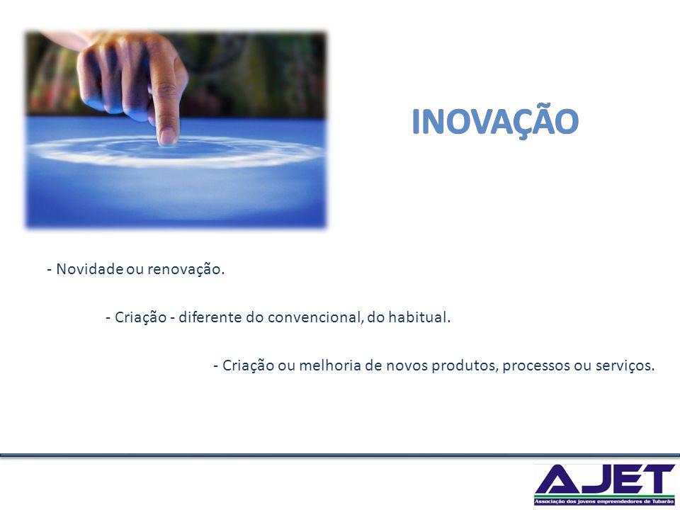 - Criação - diferente do convencional, do habitual. - Novidade ou renovação. - Criação ou melhoria de novos produtos, processos ou serviços.