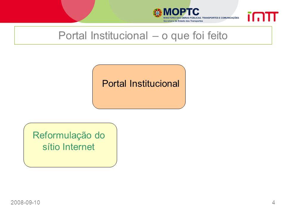 2008-09-105 Portal Institucional – o que foi feito Portal Institucional Reformulação do sítio Internet Serviços On-line