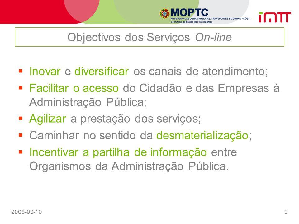 2008-09-109 Objectivos dos Serviços On-line Inovar e diversificar os canais de atendimento; Facilitar o acesso do Cidadão e das Empresas à Administraç