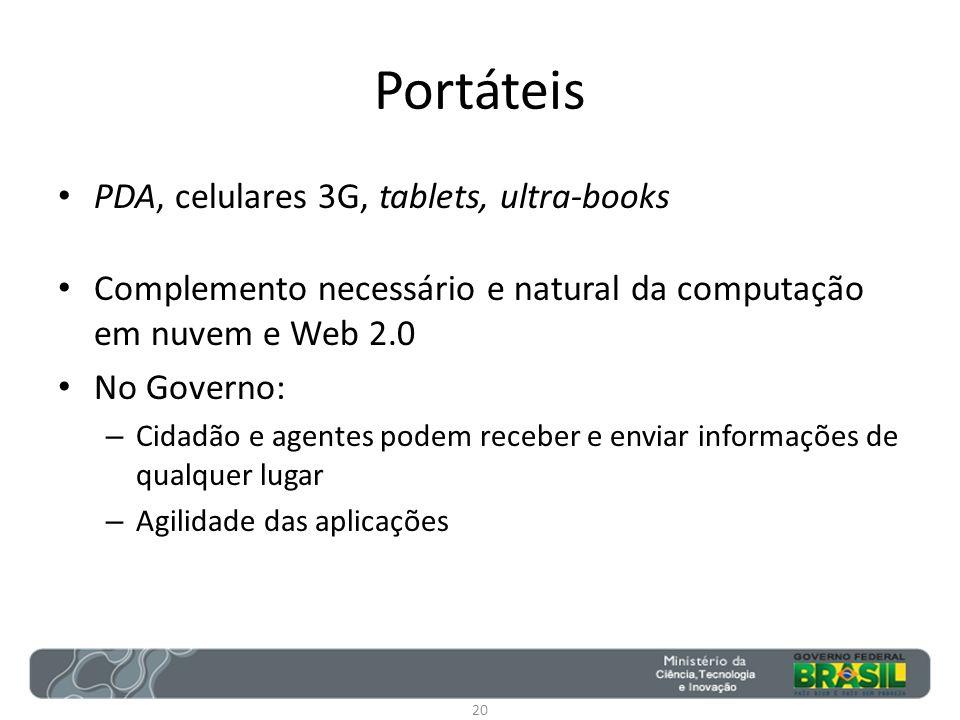 Portáteis PDA, celulares 3G, tablets, ultra-books Complemento necessário e natural da computação em nuvem e Web 2.0 No Governo: – Cidadão e agentes po