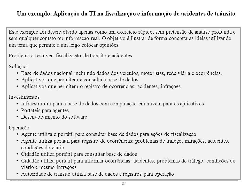 Um exemplo: Aplicação da TI na fiscalização e informação de acidentes de trânsito 27 Este exemplo foi desenvolvido apenas como um exercício rápido, se