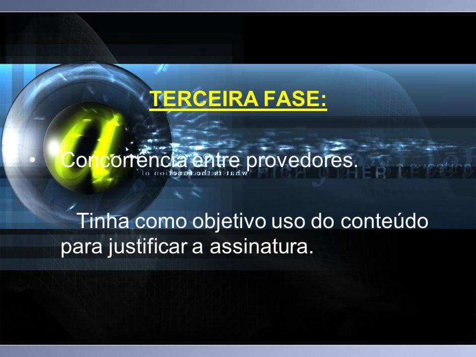 TERCEIRA FASE: Concorrência entre provedores.