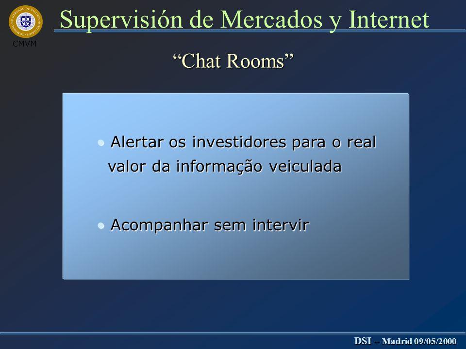 CMVM DSI – Madrid 09/05/2000 Supervisión de Mercados y Internet Chat Rooms Difíceis de controlar Difíceis de controlar Anonimidade dos intervenientes