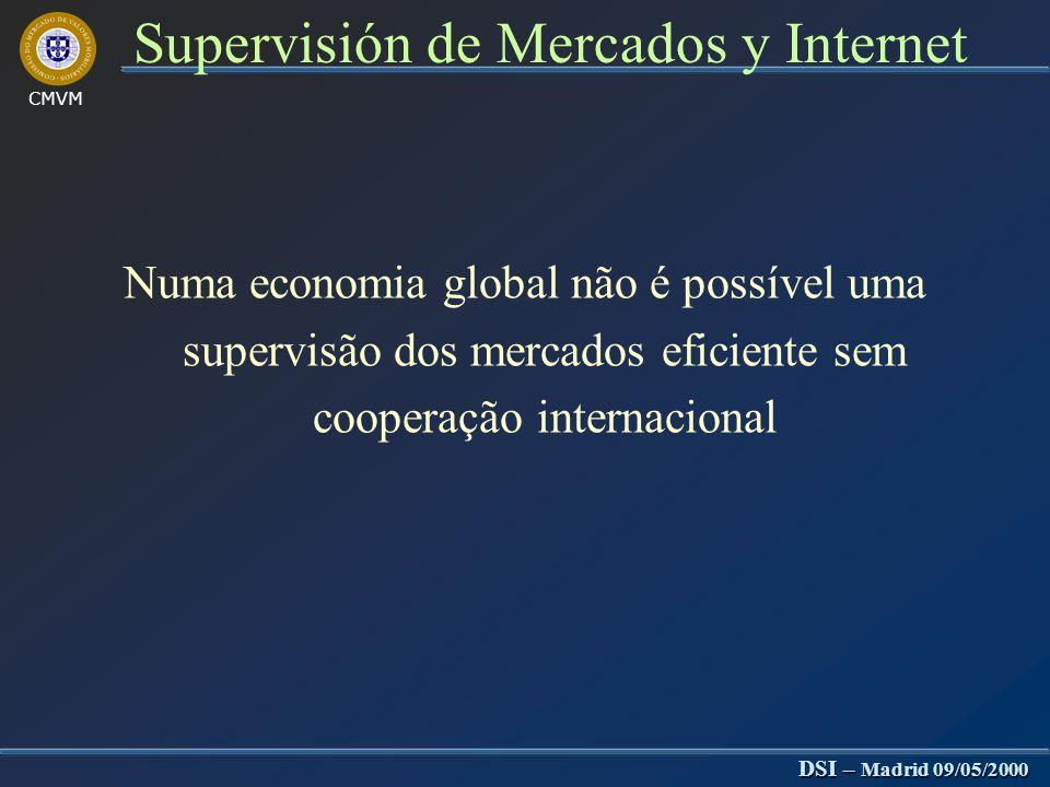 CMVM DSI – Madrid 09/05/2000 Supervisión de Mercados y Internet Problemas da supervisão na Internet Motores de pesquisa pouco precisos Motores de pesq