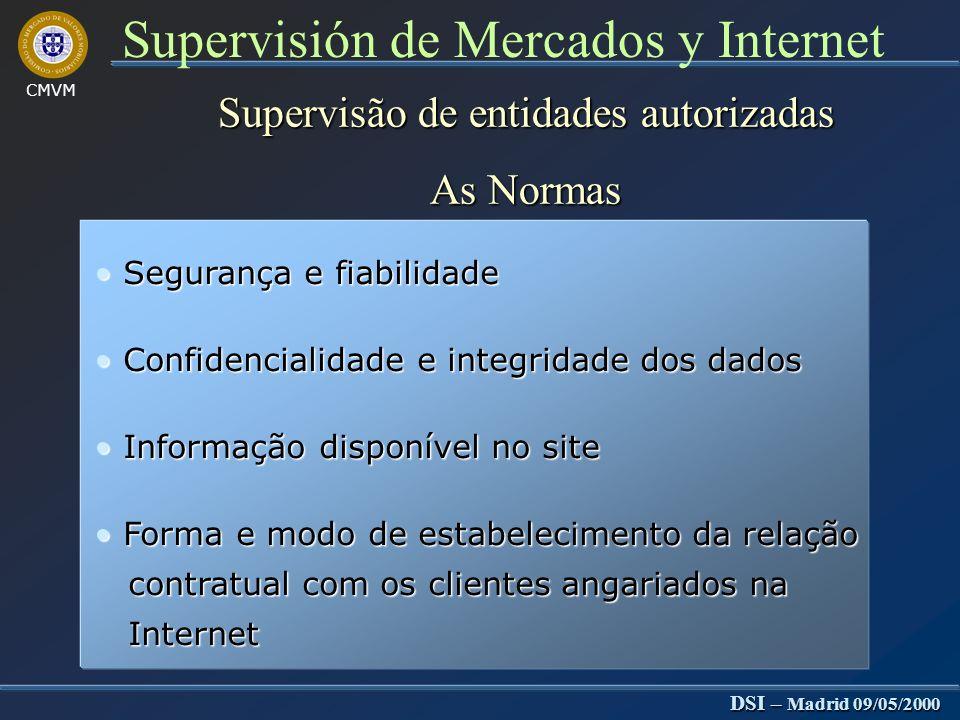 CMVM DSI – Madrid 09/05/2000 Supervisión de Mercados y Internet Supervisão entidades autorizadas Detecção de intermediação não autorizada Chat rooms