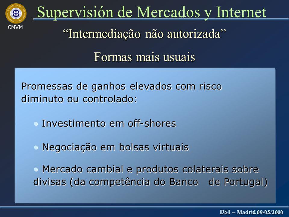 CMVM DSI – Madrid 09/05/2000 Supervisión de Mercados y Internet Supervisão de entidades autorizadas Dificuldade O processo de verificação do cumprimento das O processo de verificação do cumprimento das normas é consumidor de tempo e de recursos normas é consumidor de tempo e de recursos humanos humanos