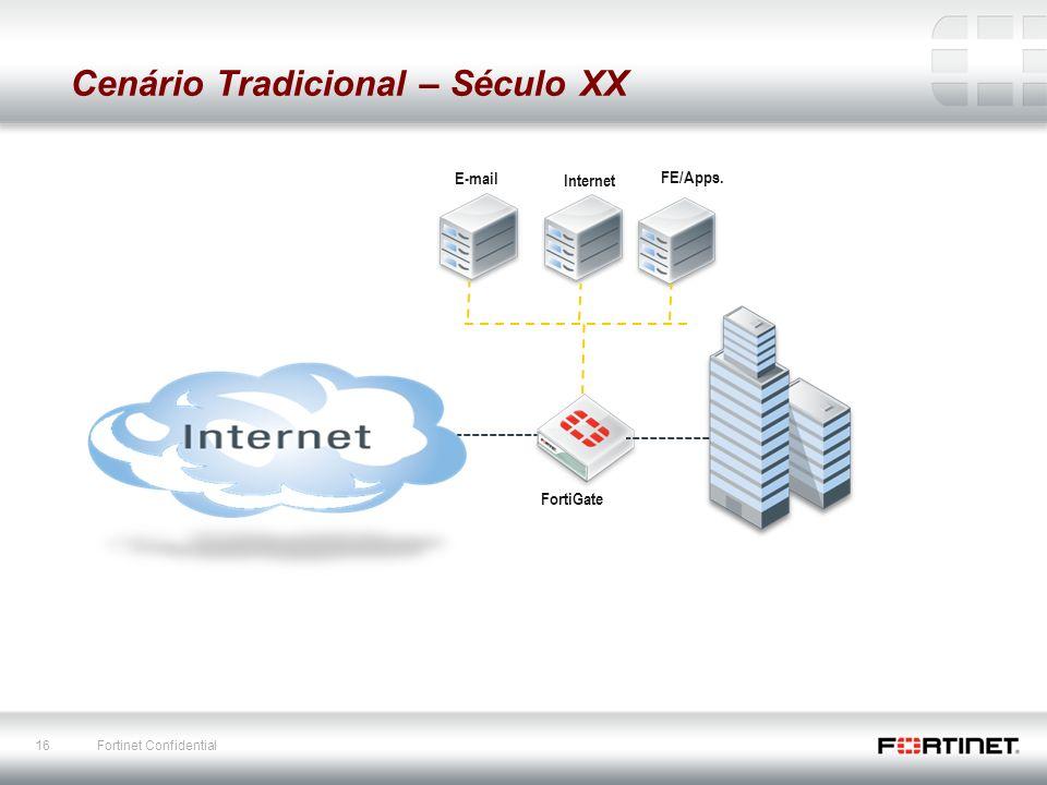 16 Fortinet Confidential E-mail FortiGate Cenário Tradicional – Século XX Internet FE/Apps.