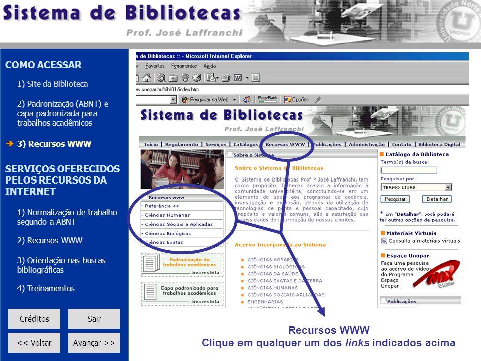 Recursos WWW Clique em qualquer um dos links indicados acima COMO ACESSAR 1) Site da Biblioteca 2) Padronização (ABNT) e capa padronizada para trabalh