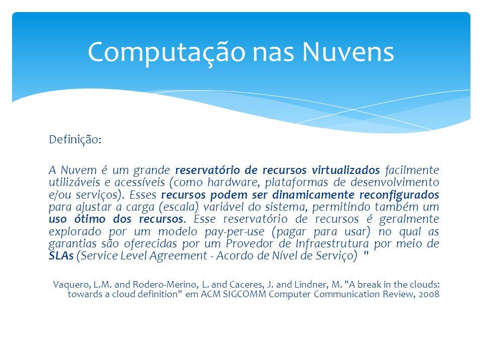 Definição: A Nuvem é um grande reservatório de recursos virtualizados facilmente utilizáveis e acessíveis (como hardware, plataformas de desenvolvimen