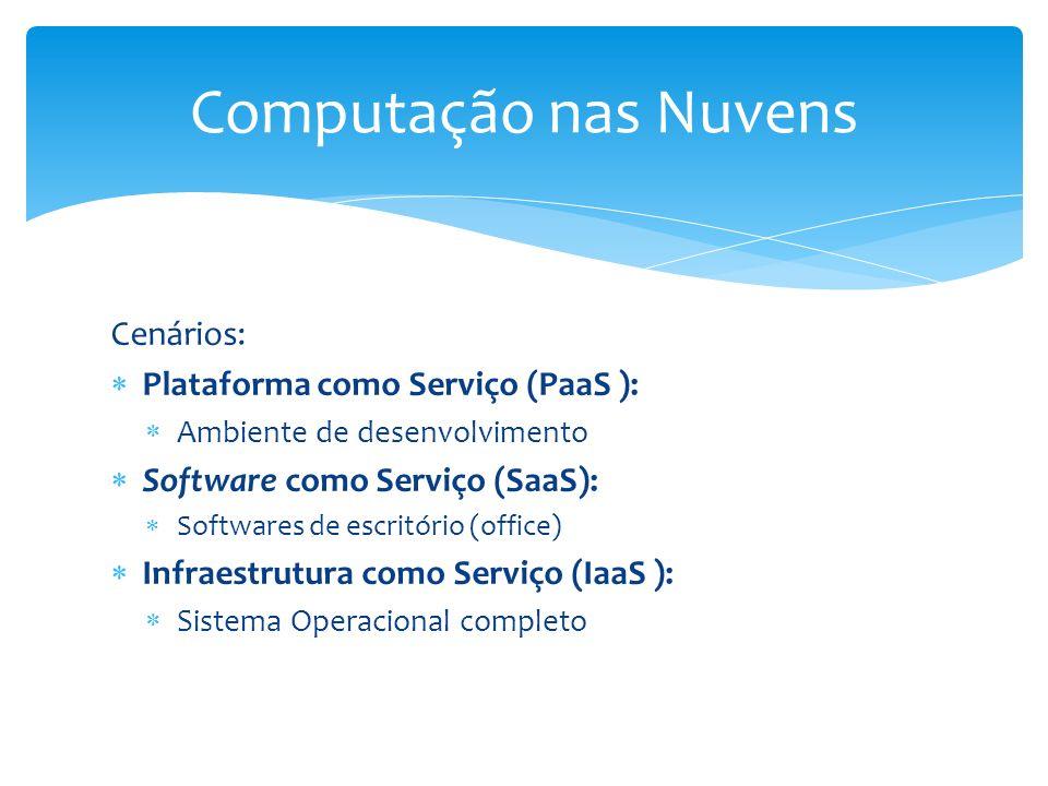 Cenários: Plataforma como Serviço (PaaS ): Ambiente de desenvolvimento Software como Serviço (SaaS): Softwares de escritório (office) Infraestrutura c