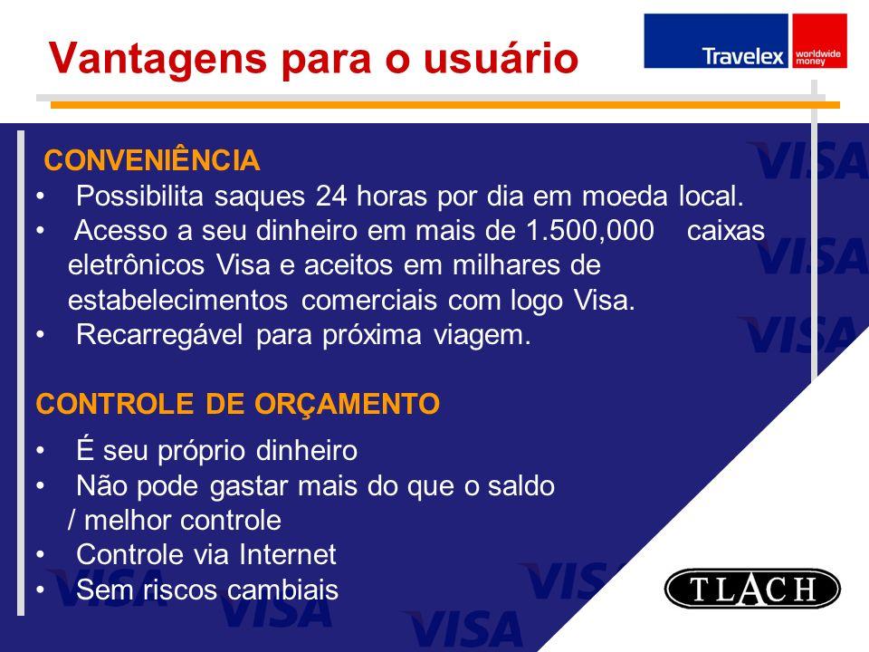 Vantagens para o usuário CONVENIÊNCIA Possibilita saques 24 horas por dia em moeda local. Acesso a seu dinheiro em mais de 1.500,000 caixas eletrônico