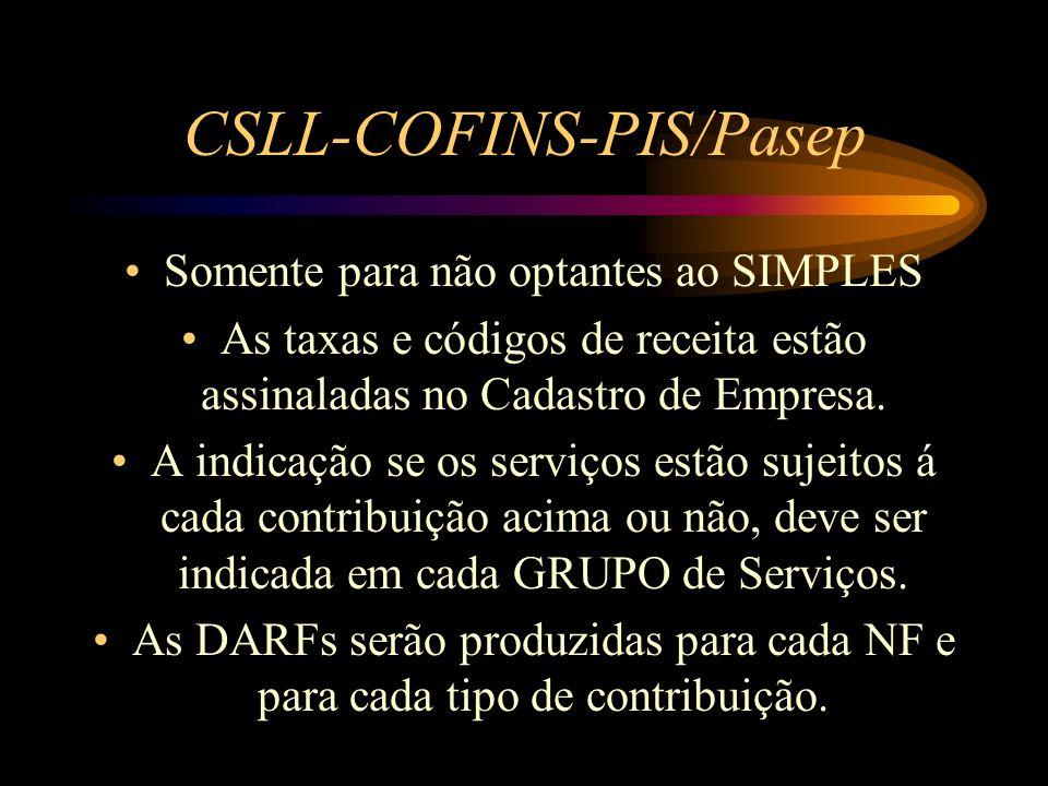 CSLL-COFINS-PIS/Pasep Somente para não optantes ao SIMPLES As taxas e códigos de receita estão assinaladas no Cadastro de Empresa. A indicação se os s