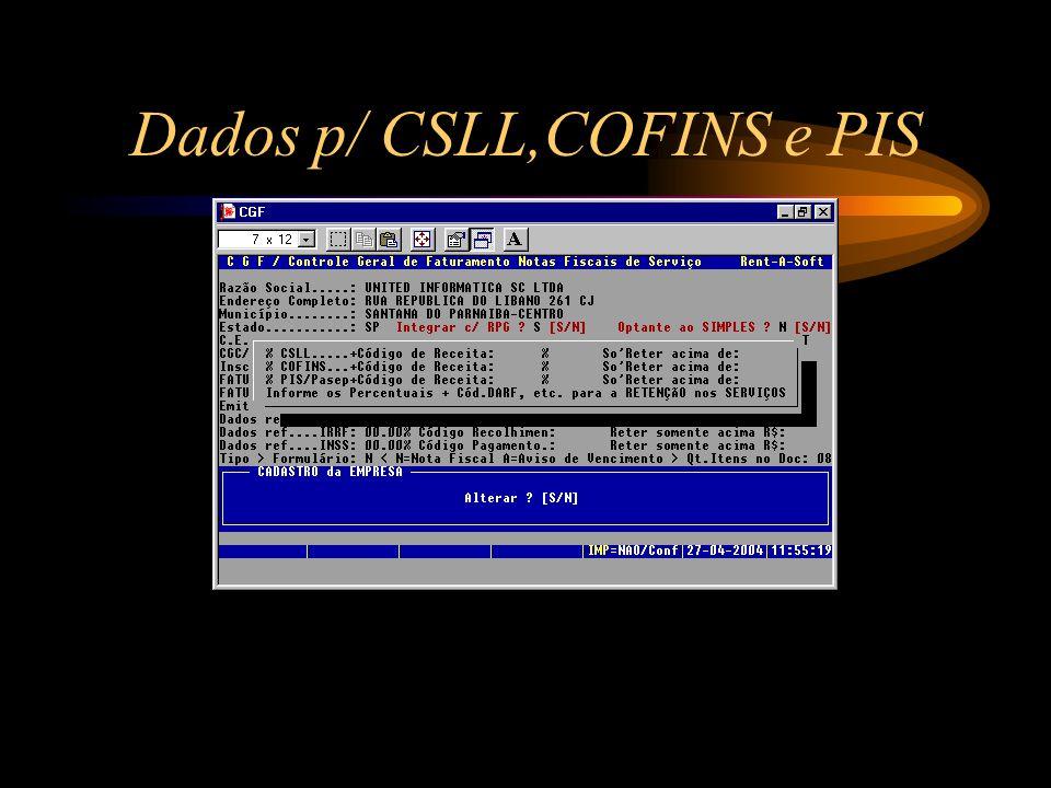 Dados p/ CSLL,COFINS e PIS