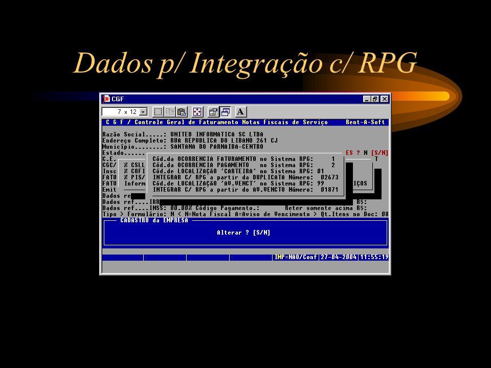 Dados p/ Integração c/ RPG