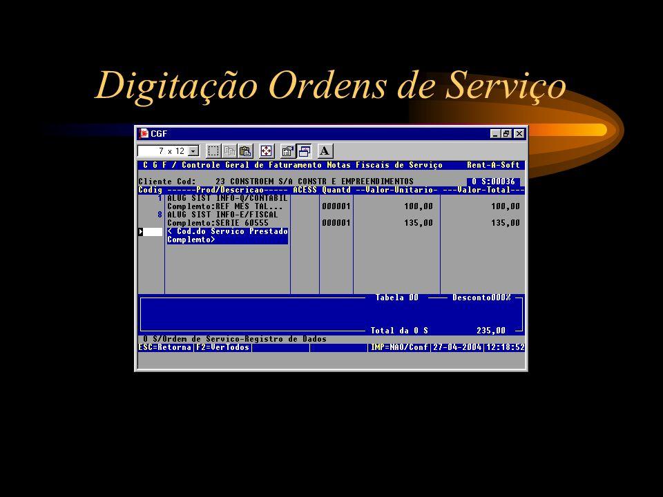 Digitação Ordens de Serviço