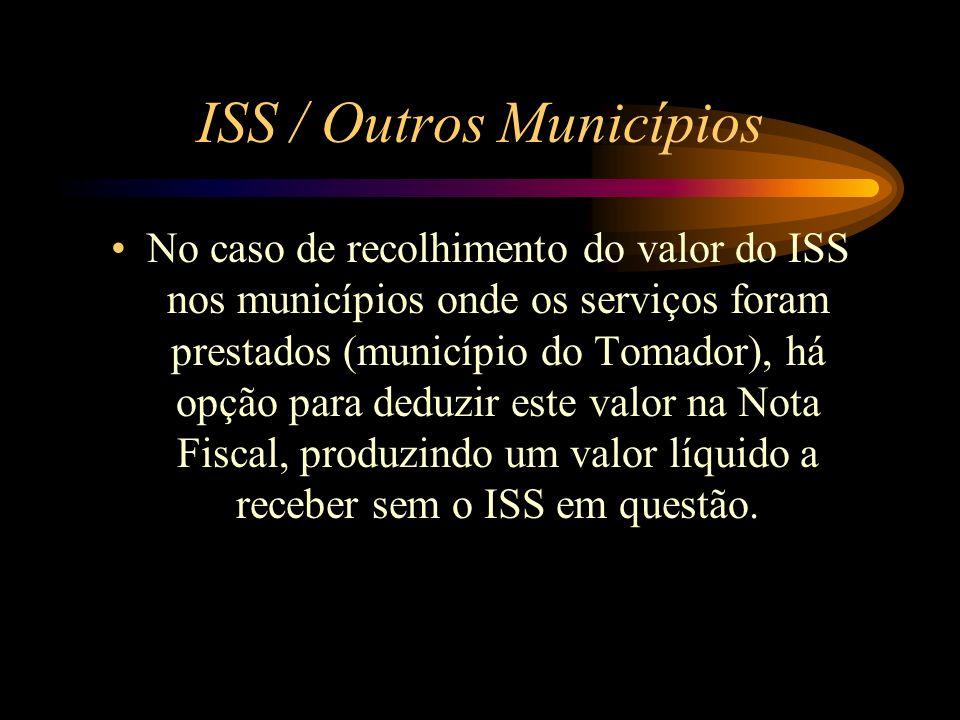 ISS / Outros Municípios No caso de recolhimento do valor do ISS nos municípios onde os serviços foram prestados (município do Tomador), há opção para