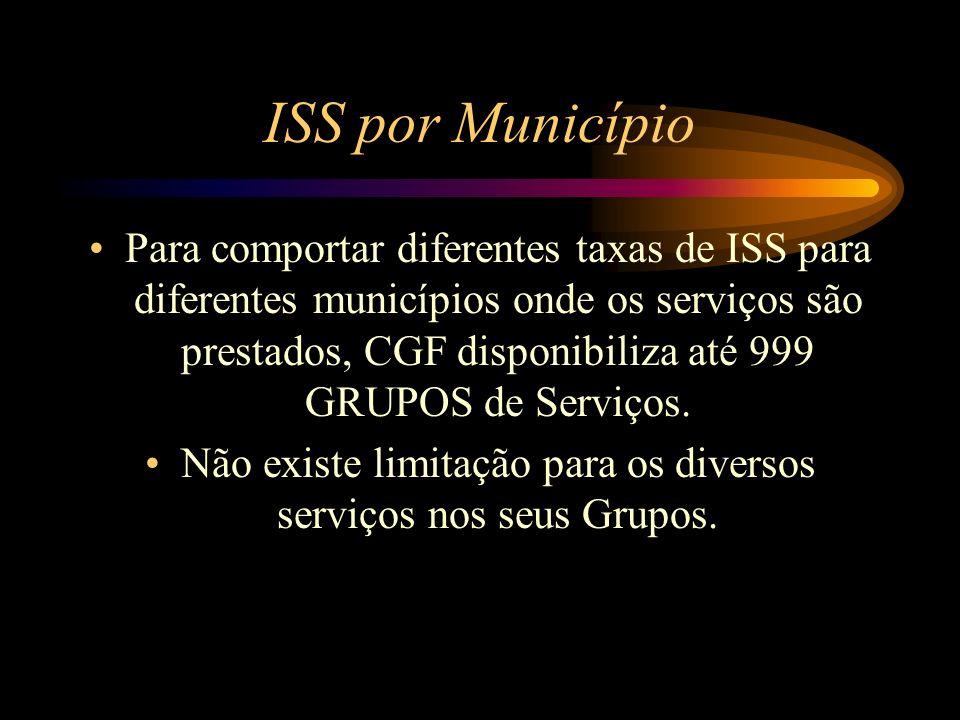 ISS por Município Para comportar diferentes taxas de ISS para diferentes municípios onde os serviços são prestados, CGF disponibiliza até 999 GRUPOS d