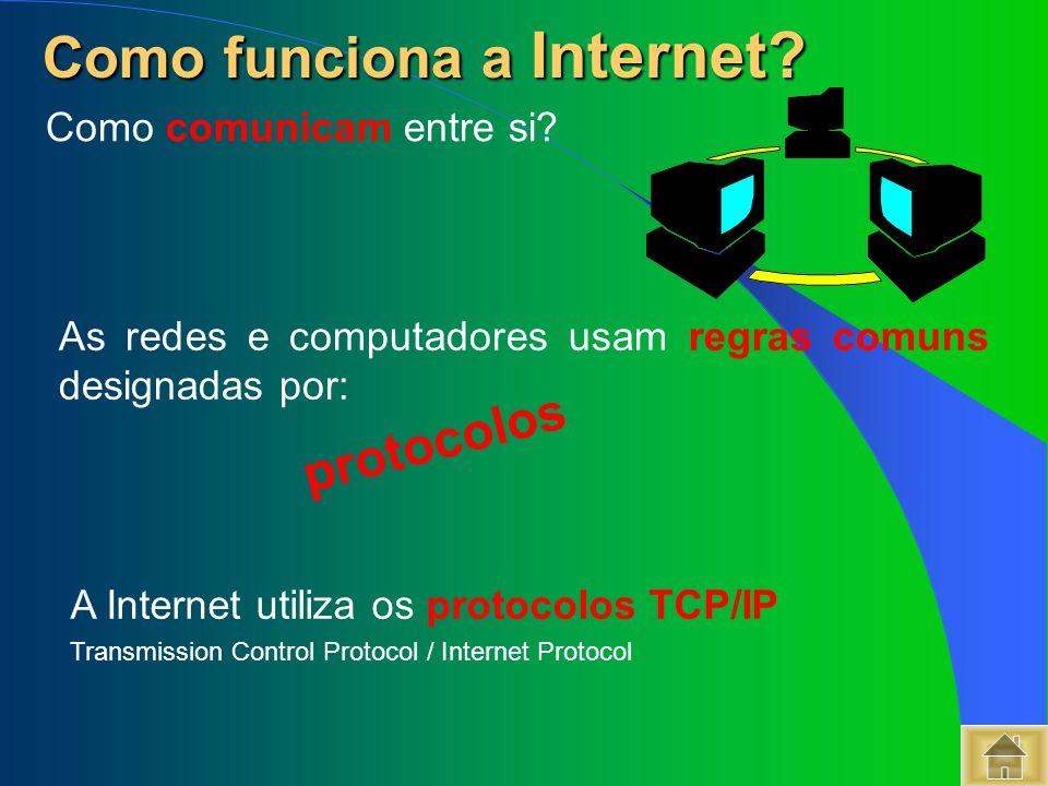 As redes e computadores usam regras comuns designadas por: protocolos A Internet utiliza os protocolos TCP/IP Transmission Control Protocol / Internet
