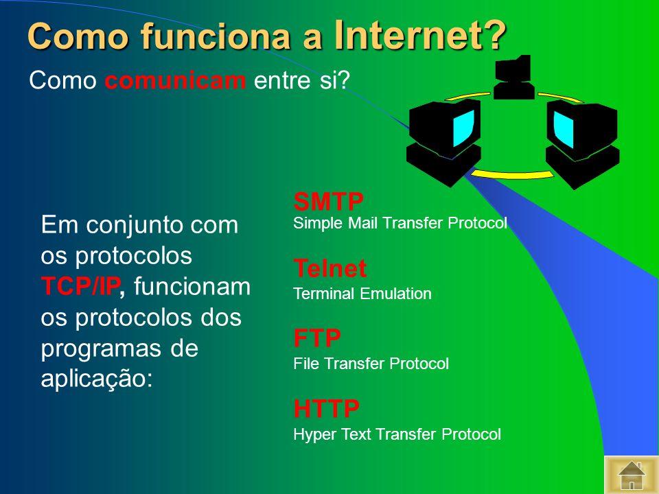 Em conjunto com os protocolos TCP/IP, funcionam os protocolos dos programas de aplicação: SMTP Simple Mail Transfer Protocol Telnet Terminal Emulation