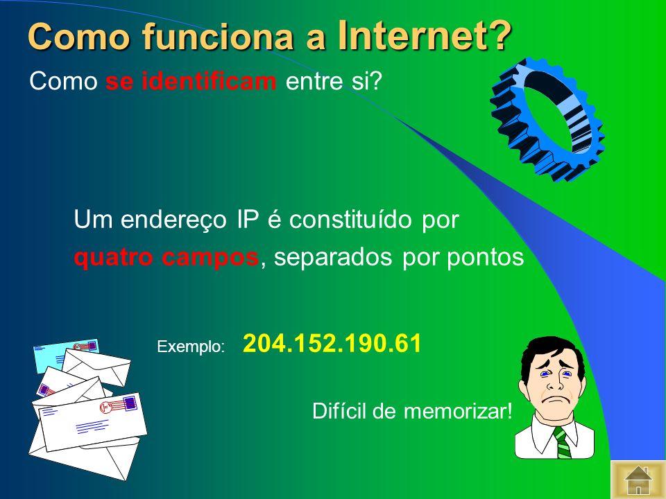Um endereço IP é constituído por quatro campos, separados por pontos Exemplo: 204.152.190.61 Difícil de memorizar! Como funciona a Internet? Como func
