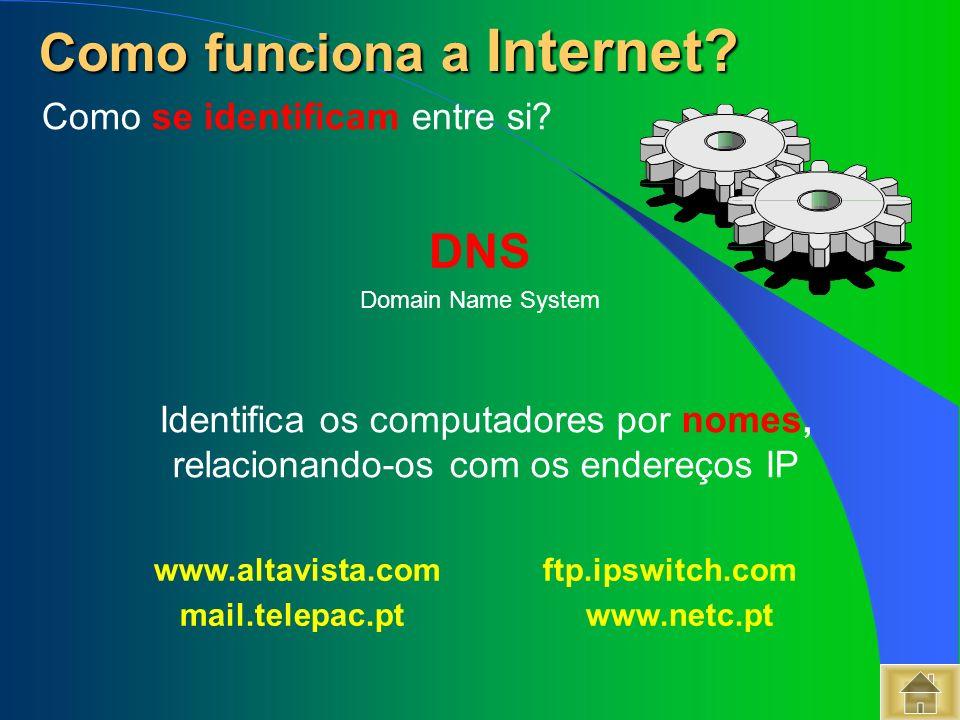 DNS Domain Name System www.altavista.com ftp.ipswitch.com mail.telepac.ptwww.netc.pt Como funciona a Internet? Como funciona a Internet? Identifica os