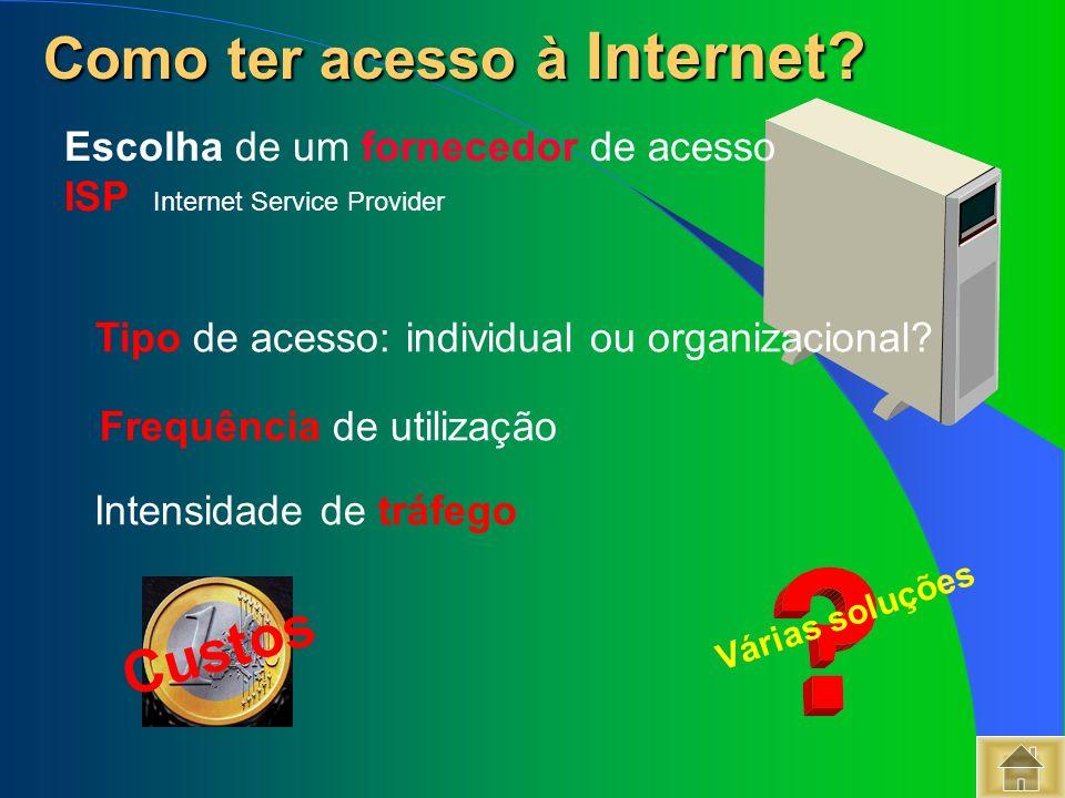 Tipo de acesso: individual ou organizacional? Frequência de utilização Intensidade de tráfego Como ter acesso à Internet? Como ter acesso à Internet?