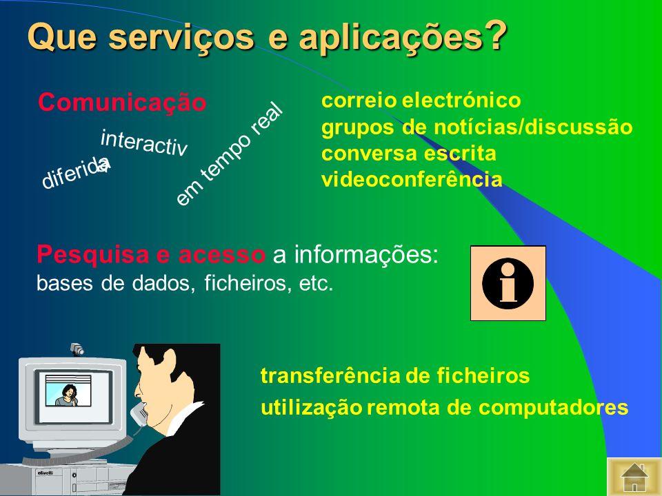 Que serviços e aplicações ? Que serviços e aplicações ? Pesquisa e acesso a informações: bases de dados, ficheiros, etc. diferida correio electrónico