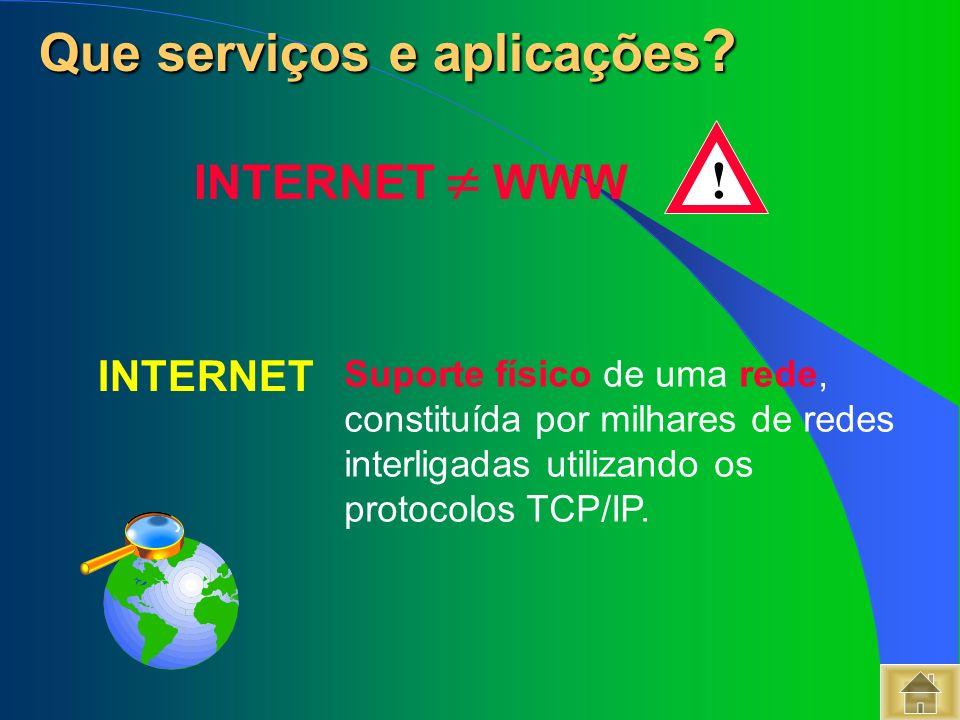 Suporte físico de uma rede, constituída por milhares de redes interligadas utilizando os protocolos TCP/IP. Que serviços e aplicações ? Que serviços e