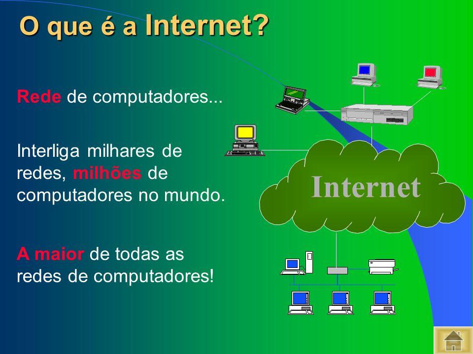 Rede de computadores... Interliga milhares de redes, milhões de computadores no mundo. A maior de todas as redes de computadores! Internet O que é a I